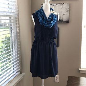 Skies are Blue Navy Pullover Dress w/ New Scarf!